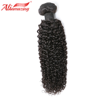 Ali Amazing Hair Curly Weave Human Hair Bundles 1pc Peruvian Remy Hair Extension Bundle Natural Black Double Weft Free Shipping