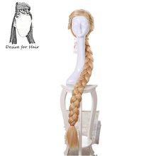 Il desiderio di capelli 1pc movie Principessa rapunzel cosplay parrucca extra lungo 120 centimetri pre intrecciato sintetico Soffici parrucche di capelli