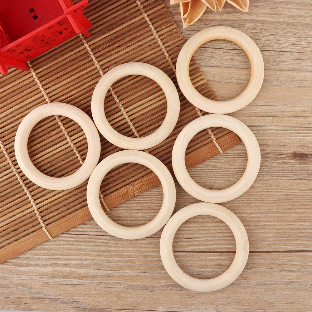 5PCS 70MM Natural Wood Baby Infant Teether Teething Ring Baby Lead-Free Toys