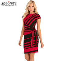 SEBOWEL 2017 Autumn Striped Print Office Work Dress Women Bodycon Pencil Dress Mini Elegant Short Party