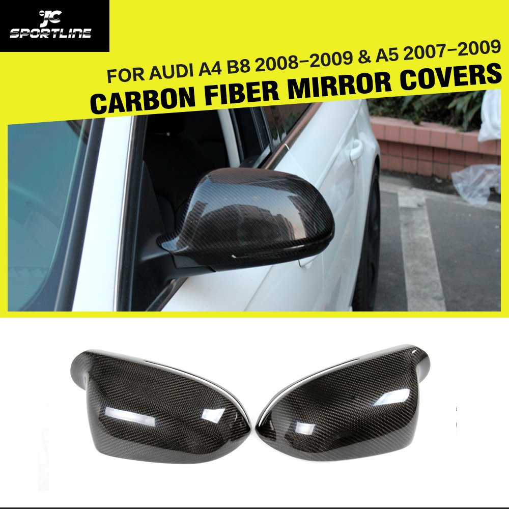 Car Styling Carbon Fiber Side Review Mirror Caps for Audi A4 B8 2008 2009 A5 Coupe Sedan 2007 2009