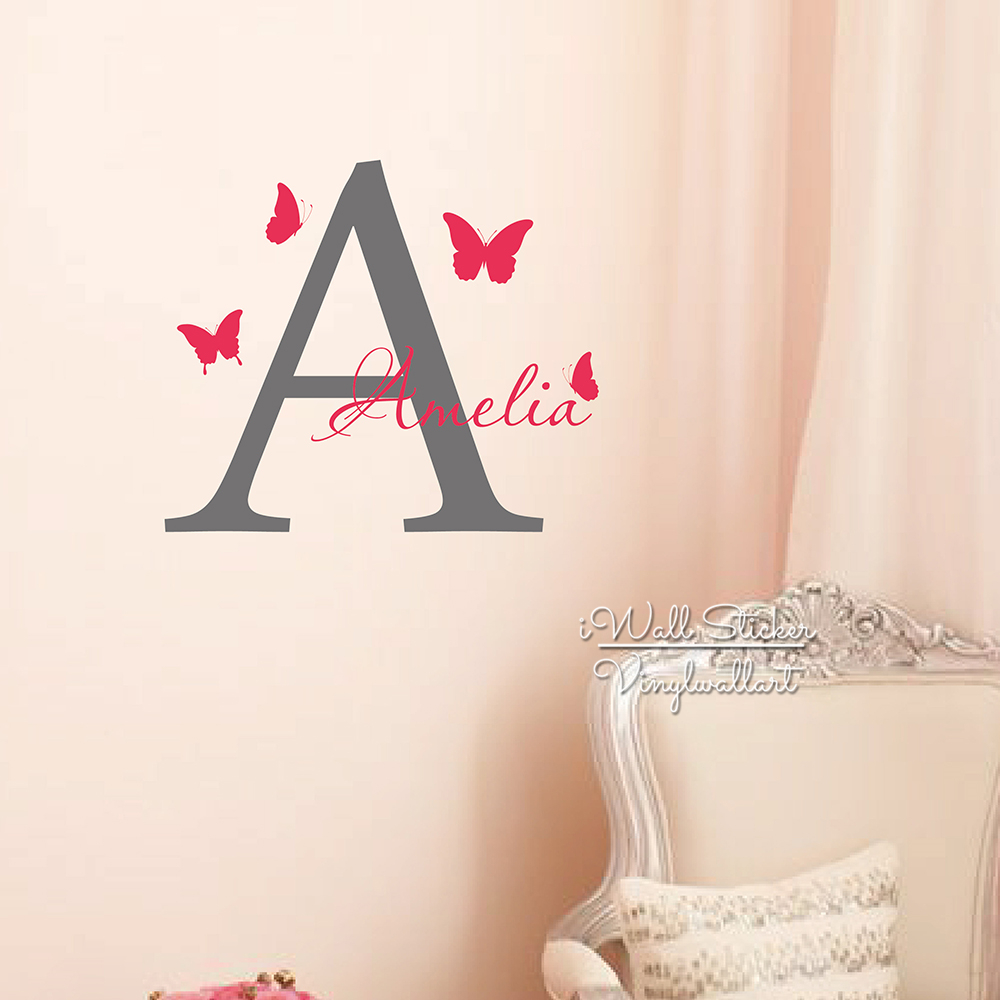 Name Wall Sticker Initial Letter Butterflies Name Wall Decal - Custom cut vinyl wall decals