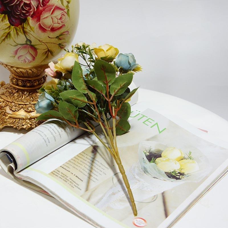 Colorful Silk Flower Wedding Bouquet Roses Artificial Flowers Vivid ...