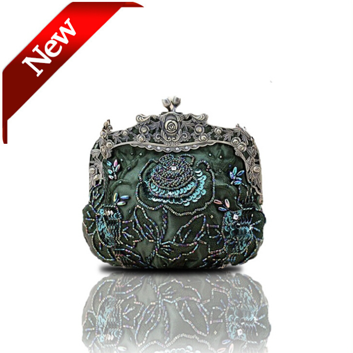 Female Retro Beaded Clutch Bag Embroidery Flower Purse Evening Embroidered Handbag Bride Women - Yiwu Cokoo Co., Ltd. (bags store)