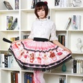 Sweet Pink Short Summer Skirt Lovely Cupcakes Printed Lolita Skirt Free Shipping