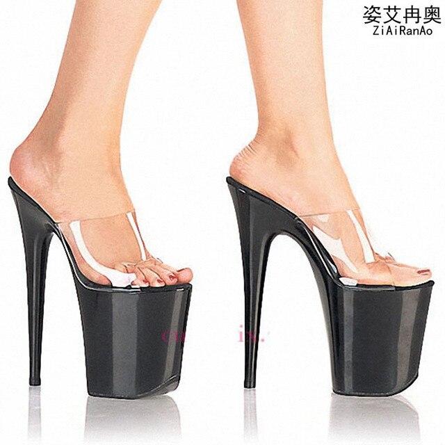 8a3a8ac52e364 US $42.67 |ZIAIRANAO Summer Slides Transparent Women Sandals 15 17 20 CM  Party Wedding High Heels 10 CM Platform Shoes Woman Big Size Pumps-in  Women's ...
