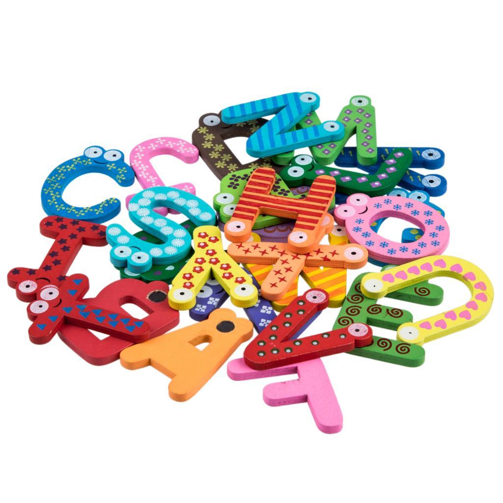 Веселые развлечения A-Z магнитные буквы деревянные магниты наклейки дети образование игрушки