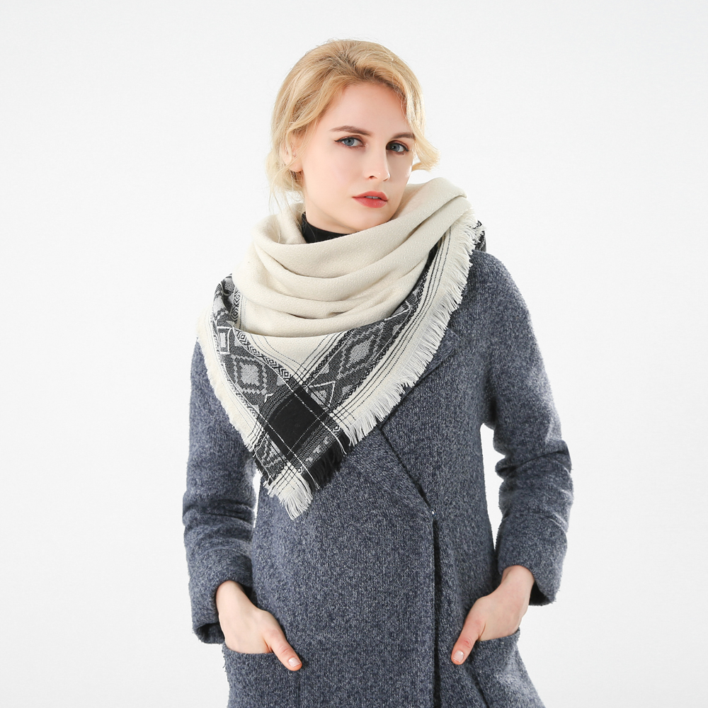 Winfox 2018 New Brand Fashion Winter Beige Vintage Geometric Square Scarf Shawls For Womens Ladies
