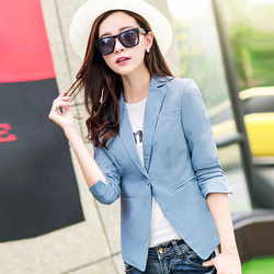 Fake pockets lady black blazers big size m 4xl washing effects one botton style women outerwear.jpg 250x250