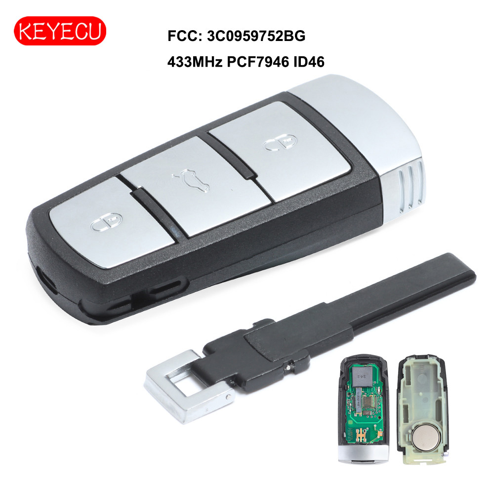 Keyecu Smart Remote Car Key Fob 3 Button 433MHz PCF7946 ID46 for VW Volkswagen Passat Passat