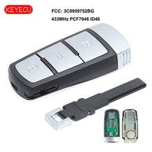 Keyecu inteligentny pilot z kluczykiem samochodowym 3 przycisk 433MHz PCF7946 ID46 dla VW Volkswagen Passat/Passat CC 2005 2014 3C0959752BG
