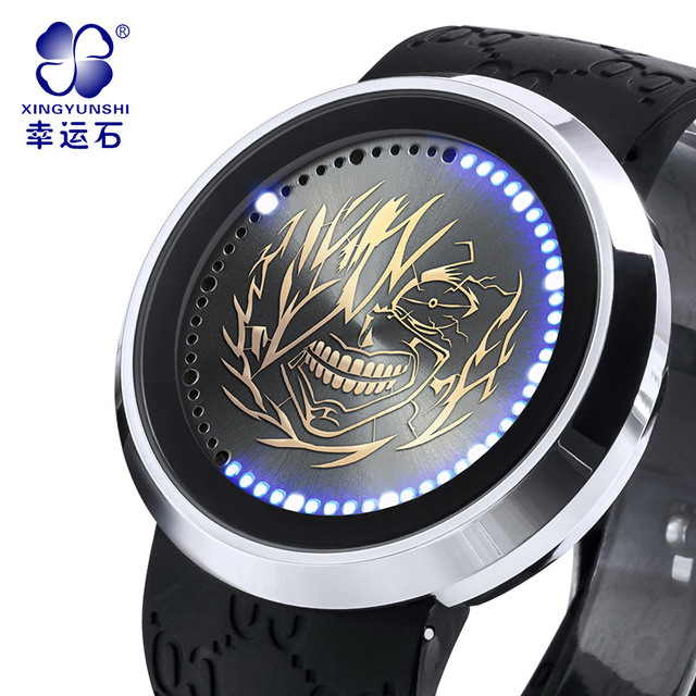 Xingyunshi touch-screen LED relógios à prova d' água relógios eletrônicos dos homens black-faced relógio Luminoso Relógio de ouro Relogio masculino