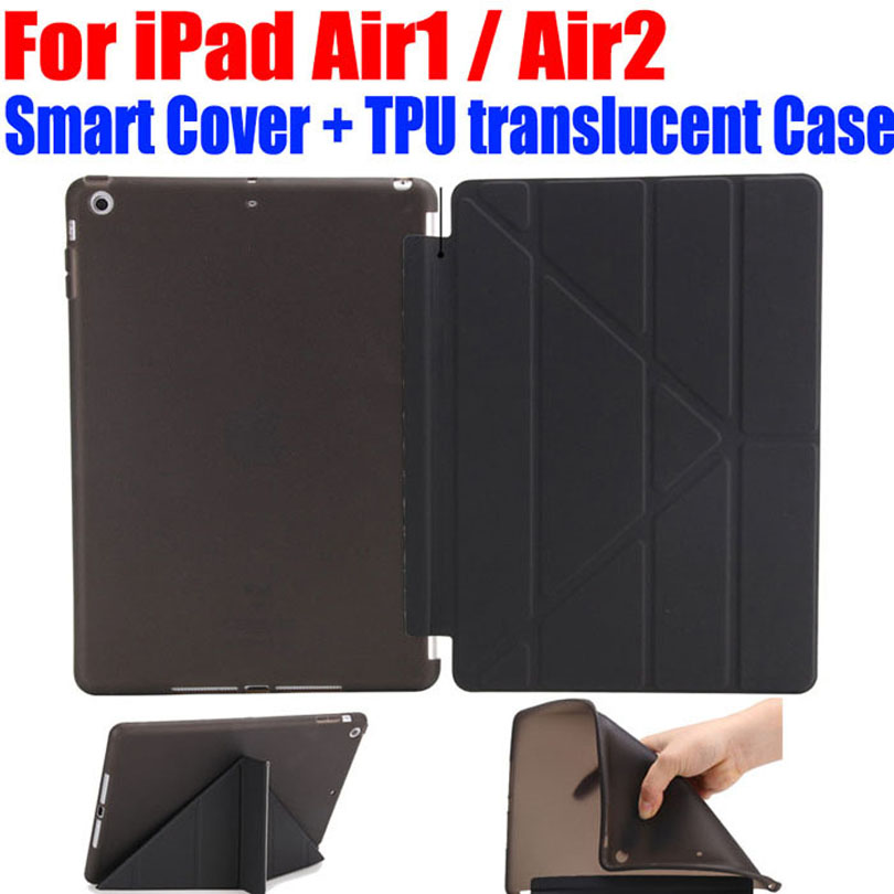 50TPUs/Lot DHL Free Ultra Slim Transform PU Leather Case for Apple ipad air 1 2 Smart Cover + TPU translucent back I612 surehin nice 360 full protective magnetic smart pu leather case for apple ipad air 1 cover slim thin tpu silicon back soft case
