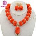Banhado a ouro orange coral contas set jóias new handmade africano nigeriano contas de casamento conjunto de jóias nupcial colar setabl994