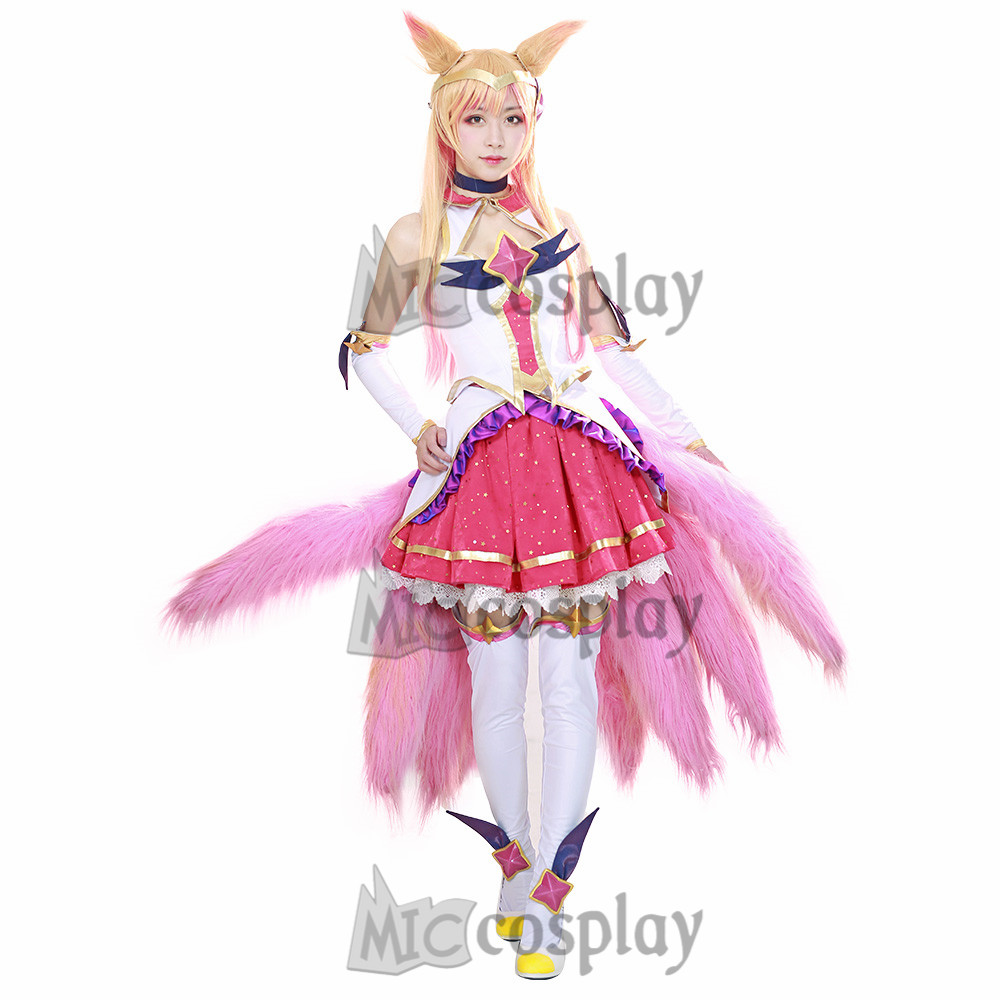 LOL cos Ahri Cosplay Costume Dress Pink