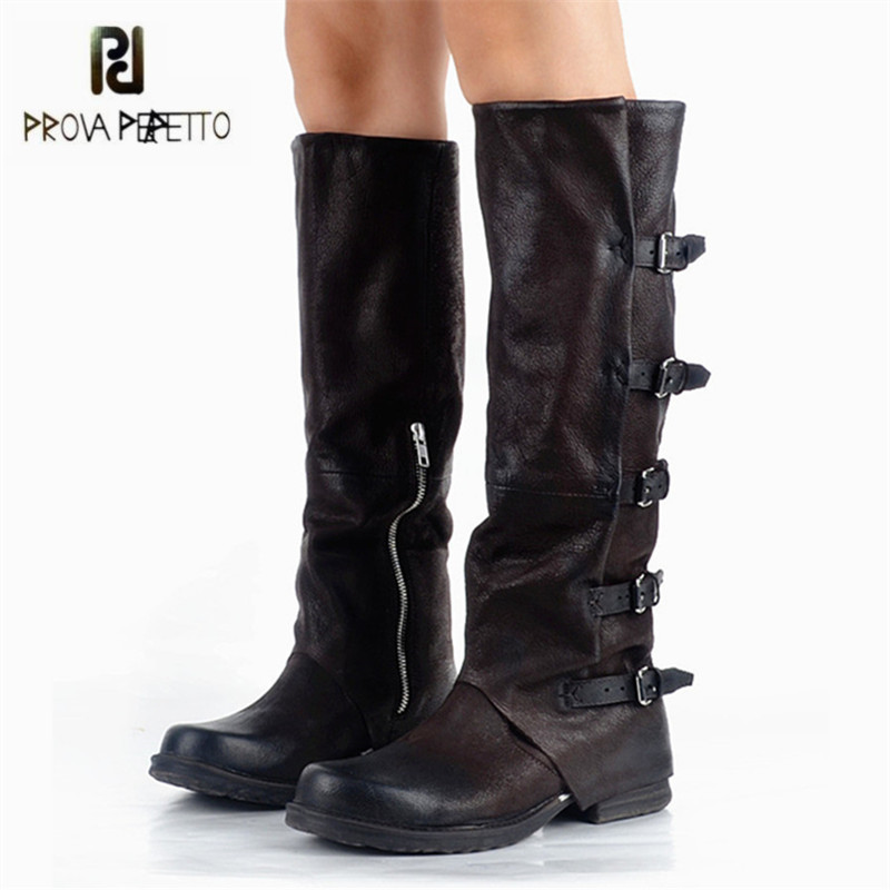 Prova Perfetto 2017 New Winter Women Knee High Boots Straps Riding High Boots Flat Rubber Shoes Woman Platform Botas Militares prova perfetto yellow women mid calf boots fashion rivets studded riding boots lace up flat shoes woman platform botas militares