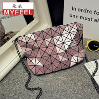 DUODUO Women Plaid Laser Bag Geometric Shoulder Bags Casual Mini Bao Bao Makeup Crossbody Bags For
