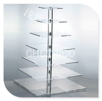 HOT!!!Free Shipping !Best Quality 7 Tier Square Acrylic Birthday Cupcake Stand Lucite Cake Dessert Stand For Maypole
