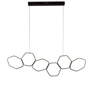 Image 3 - Lican Lampadario Moderno Led Hanglampen Voor Bar Keukens Kantoor Schorsing Cord Aluminium Cirkel Ringen Led Hanglamp
