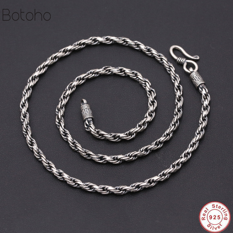 2018 925 Sterling silver chain necklace male retro men's 925 silver chain 925 men necklace Men's Necklace without Pendant Retro 925 sterling silver jewelry necklace pendant retro evil vajra pestle jiangmo avoid evil spirits musical instruments