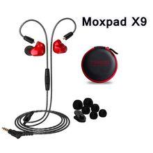 Новый 3.5 мм проводной в ухо наушники moxpad x9 dual dynamic driver музыка Hi-Fi Бас Наушники Спорт Наушники с Микрофоном Для Смарт-Телефон