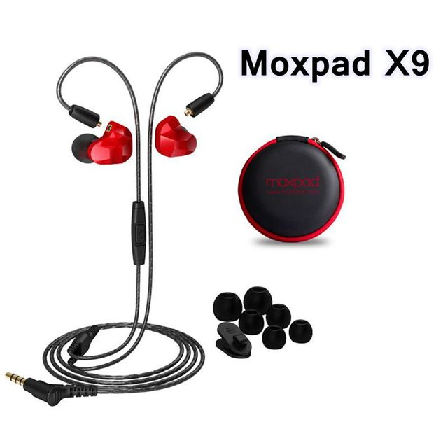 New 3.5mm Wired In ear Headset Moxpad X9 Dual Dynamic Driver Music Hifi Bass Headphones Sport Earphones with Mic For Smart Phone