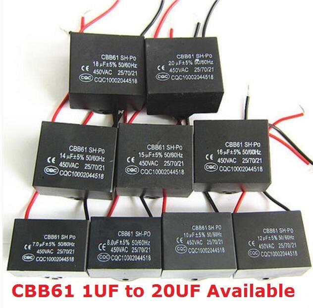 2PCS CBB61 450V 5uf/4.5uf/6uf/7uf/8uf/10uf/12uf/16uf/20uf CBB61 Fan Capacitor 450VAC 1/2/1.2/1.5/2.5/3/3.5/4/UF Capacitance