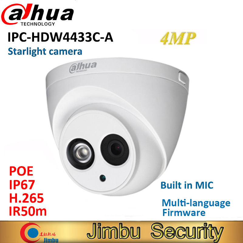 Dahua 4MP IP camera IPC-HDW4433C-A replace IPC-HDW4431C-A POE IR30M H.265 Full HD Built-in-MIC cctv camera multiple language цена