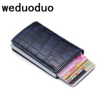 2019 Newest Card Holder RFID Aluminium Credit Men Metal Id Holders Pu Leather Wallet Automatic Case