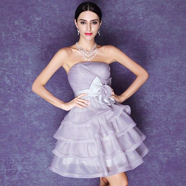 6bc34cf5b59d Hot Grey Cute Strapless Short Evening Dresses The Flowers Organza Strapless  Backless Tutu Princess Prom Dresses robe de soiree