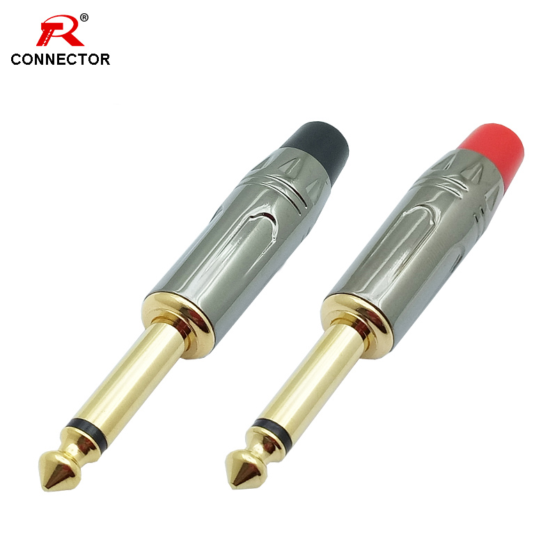 50pcs 25pairs Gold plated mono jack 6 35mm connector audio microphone video 6 35 adapter microphone