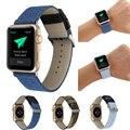 Moda ao ar livre esportes calças de ganga pano genuína pulseira de couro faixa de relógio para apple watch iwatch correndo strap banda