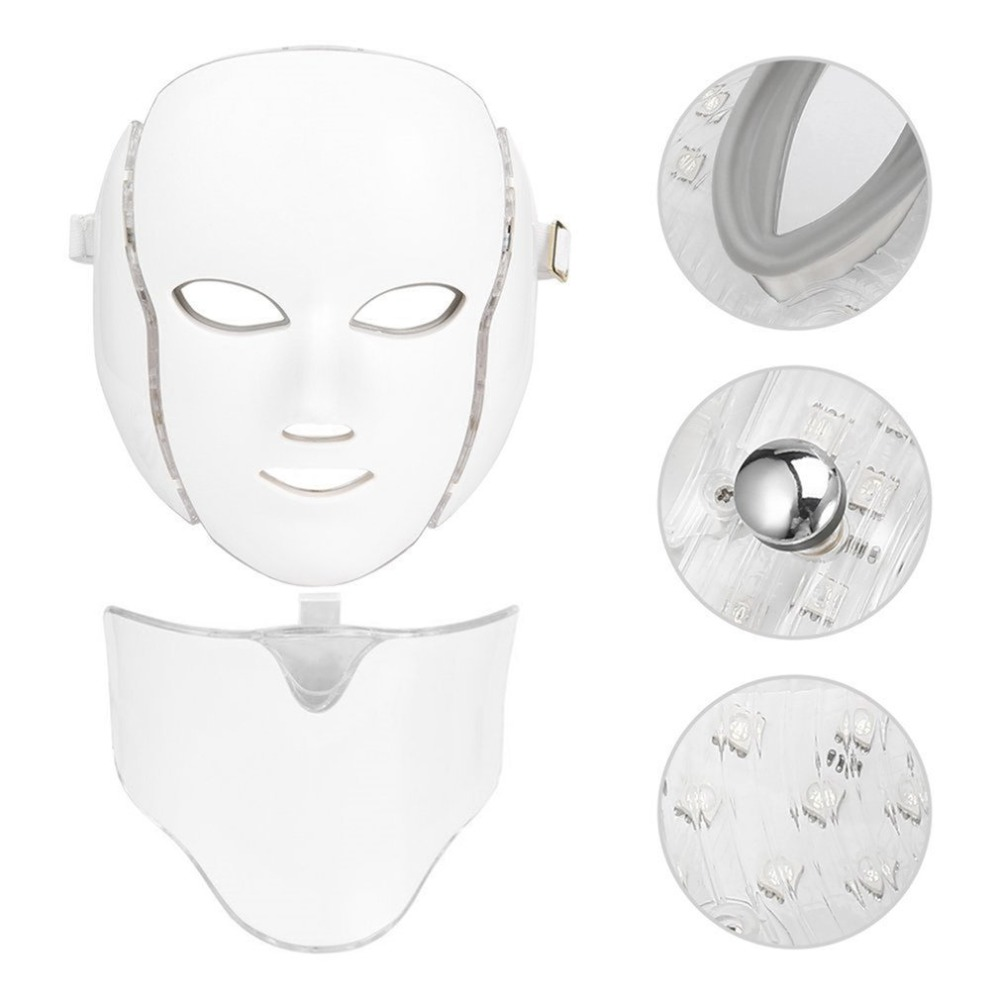7Colors Light LED Face Massage Microcurrent Facial Mask Machine Photon Therapy Skin Facial Neck Mask Whitening Electric Device 1 set professional face care diy homemade fruit vegetable crystal collagen powder facial mask maker machine skin whitening
