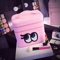 2017 El Más de Moda de Ojos de Dibujos Animados Bolsa de Cosméticos de Gran Capacidad de la Mujer Portátiles Bolsas de Viaje de Doble capa de Maquillaje compone el Bolso