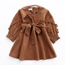 2017 New Autumn Vintage Style Baby Girl Velvet Dress Bowknot Lantern Sleeve Winter Kids Corduroy Pompoms Dresses for Girls