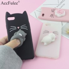 Funda de gato barbudo con brillo 3D para iphone 4 4S SE 5 5S 5C 6 6S 7 8 Plus funda para teléfono móvil X XR XS Max Squishy Cat(China)