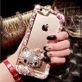 Strass olá kitty caso de diamante de cristal de luxo para o iphone 7 7 plus 6 6 mais 5S 5G 5C SE Macio TPU Limpar Back Covers Fundas