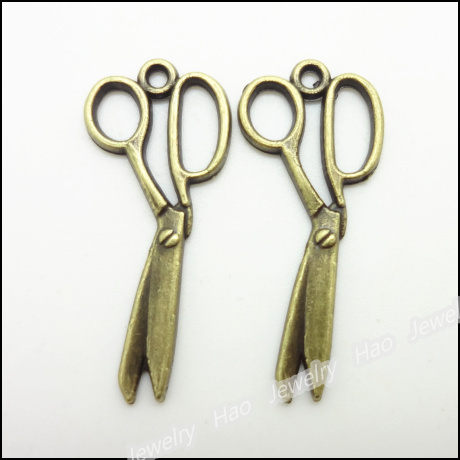 80 шт винтажные Подвески кулон Ножницы Античная бронза для браслетов и колье DIY изготовление металлических украшений