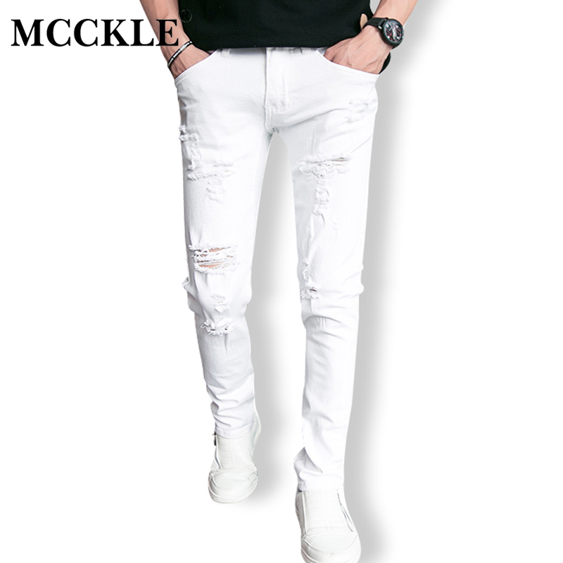 MCCKLE Fashion White Ripped Jeans Men With Holes Skinny Famous Designer Brand Slim Fit Destroyed Torn Jean Pants mens jeans 2016 italy famous men s jeans new brand men slim fit jeans trousers wear white ripped skinny ripped denim jeans for men