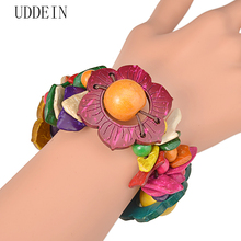 UDDEIN Flower wood bracelet for women bohemian multi layer bib beads jewelry wholesale one direction strand bracelets & bangles