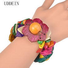 UDDEIN Flower wood bracelet for women bohemian multi layer bib beads jewelry wholesale one direction strand bracelets & bangles(China)