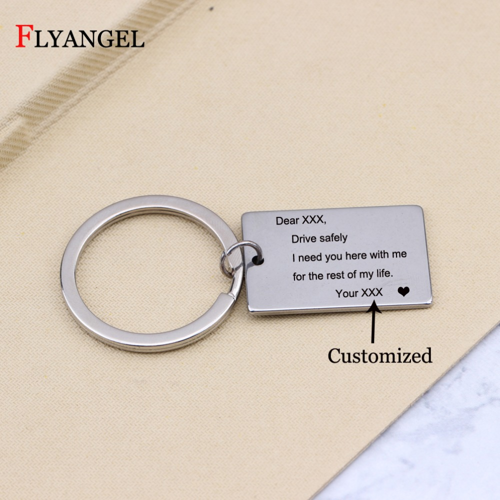 Customized Name Drive Safely Car Keychain Pendant Keyring for Couples Boyfriend Husband