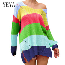 YEYA Elegant Sweater Women Patchwork Knitted Pullover Long Sleeve O-neck Autumn Winter Ladies Casual Abrigos Invierno
