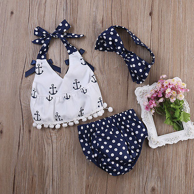 2016 Summer Baby Girls Clothes Sets Anchors Bow Top + Polka Dot Briefs + Head band 3pcs Sleeveless Outfits Set Baby 0-24 Monthes headband casual romper jumpsuit baby girl clothes gold polka dot cotton sleeveless outfits set baby girl 3 6 9 12 18 24 monthes