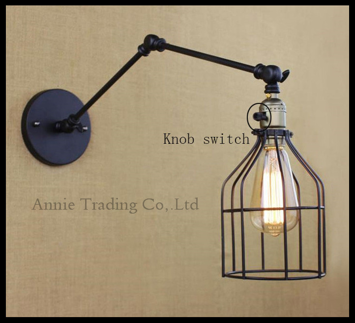 Knob swtich industrial loft balcony aisle hallway stairs minimalist restaurant bar wrought iron wall lamp L25cm double swing arm m best price vintage industrial style loft balcony aisle stairs corridor creative minimalist restaurant bar long arm wall lamp