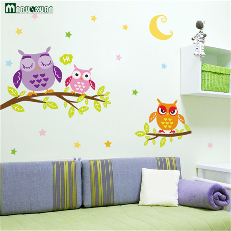 Animal Cartoon Owl On The Tree DIY Wall Stickers For Kids Rooms Home Decor Art Decals 3D Wallpaper Decoration Adesivo De Parede
