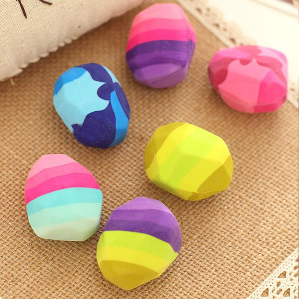 Kawaii Colorful Irregular Stone Shape Eraser Geese Shape Soft Rubber Erasers Rock Big Pencil Eraser Student Stationery Supplies