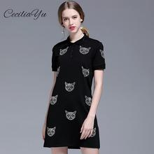 2019 Summer New Womens Beaded Cat Head Pattern Polo Collar Short-sleeved Dress Cotton Hot Diamond Ceciliayu