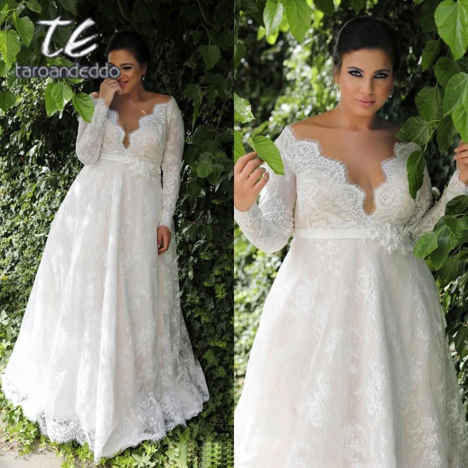 Long Sleeves Lace V Neck Wedding Dresses Sweep Train Floor Length Plus Size A Line Appliques