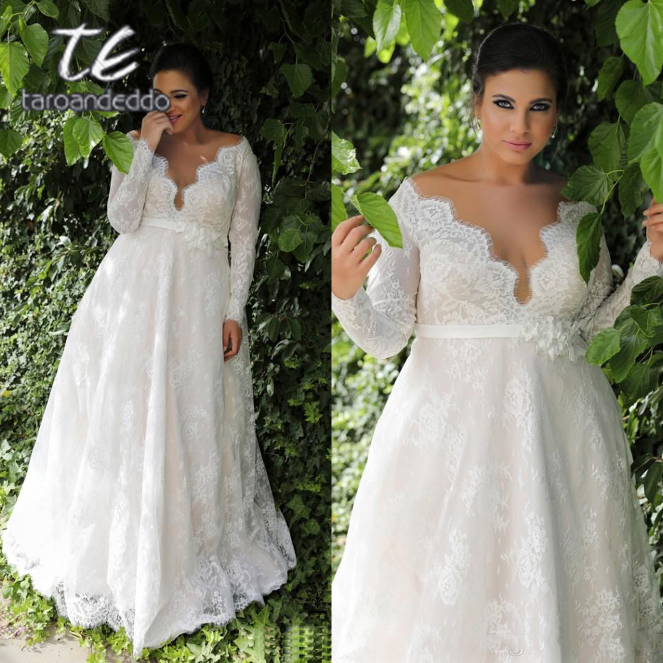 Long Sleeves Lace V Neck Wedding Dresses Sweep Train Floor Length Plus Size A Line Appliques Bridal Gown With Buttons And Sash In Wedding Dresses From